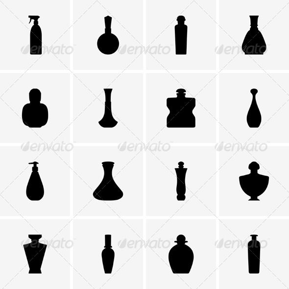 590x590 Perfume Bottles Silhouette Spa, Pictogram And Vector Graphics