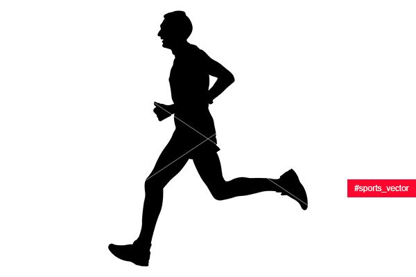 600x400 Male Athlete Runner Leader Of Marathon Running Black Silhouette