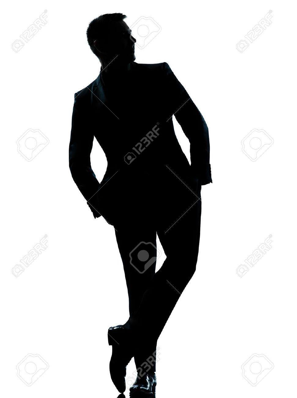 971x1300 One Caucasian Business Man Silhouette Standing Full Length Hands