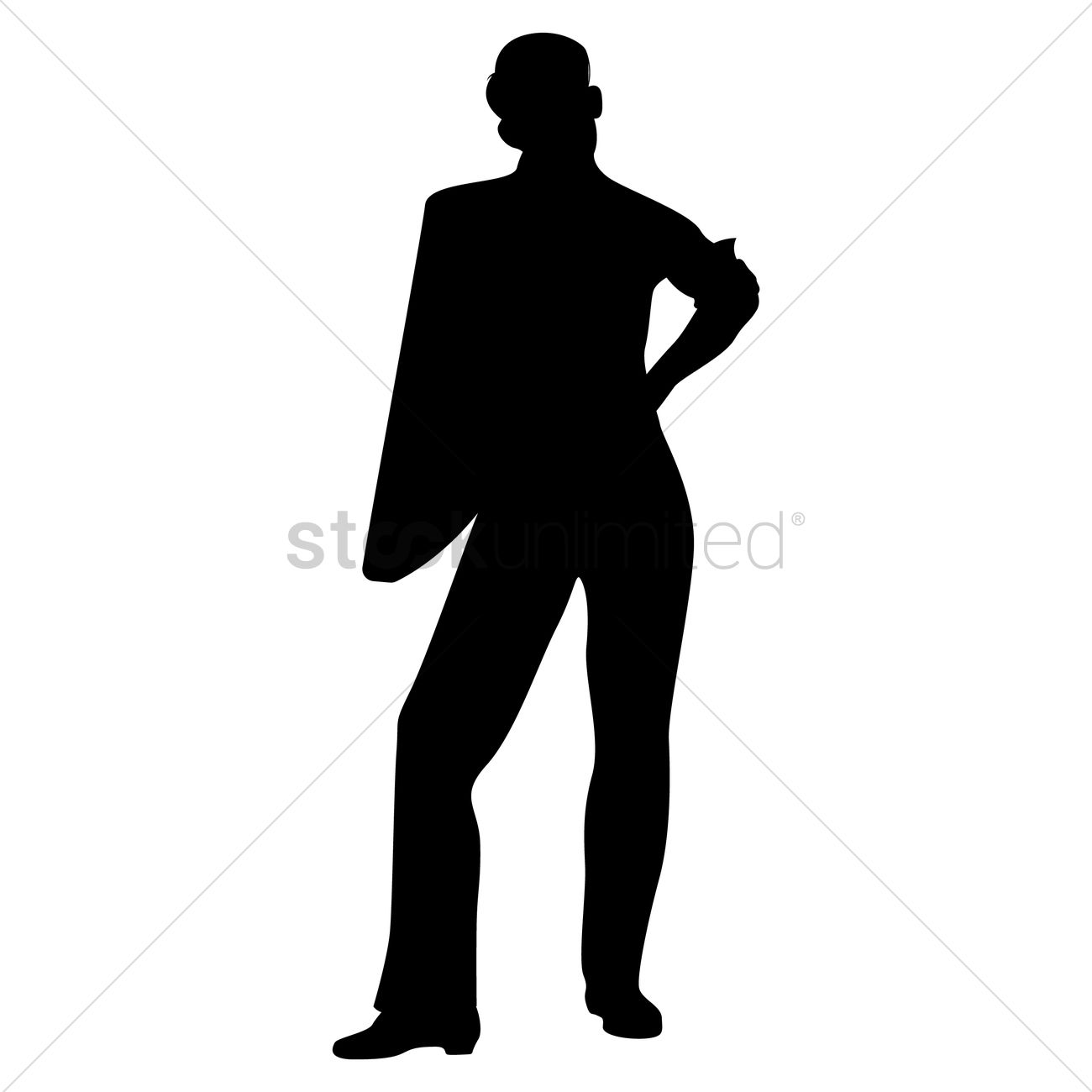 1300x1300 Silhouette Of Man Standing Vector Image