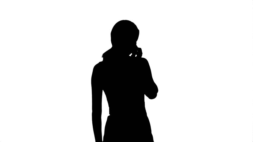 852x480 Silhouette Portrait Of Happy Young Woman Talking On Mobile Phone
