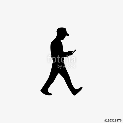 500x500 Silhouette Man Walking With The Phone In Hand And Playing Video