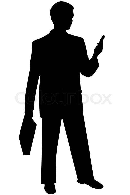 533x800 Black Silhouette Man On White W Phone