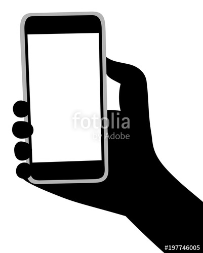 401x500 Mobile Phone In A Black Hand Silhouette Vector Stock Image