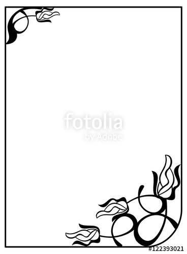 368x500 Silhouette Flower Frame. Simple Black And White Frame