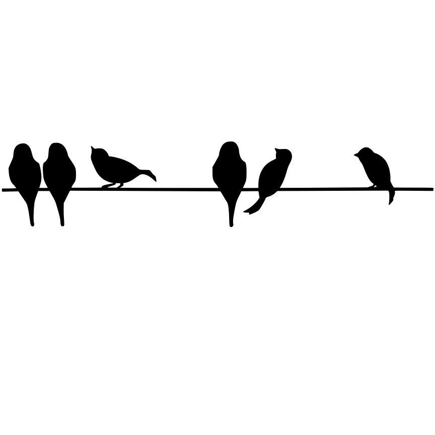 864x864 Spelndid Bird On A Wire Stencil Silhouette Birds