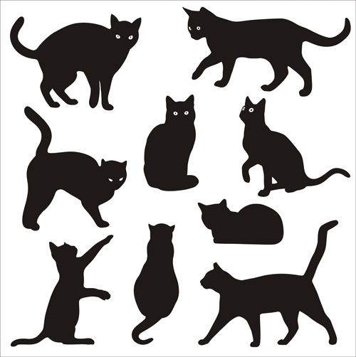 500x502 Cat Silhouettes Vectors Set Free Vector In Adobe Illustrator Ai