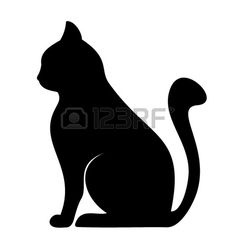 236x236 Clipart Illustration Of Silhouette Of Cat Playing