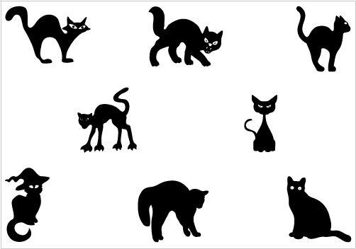 502x352 Halloween Cat Silhouette Vector Graphics