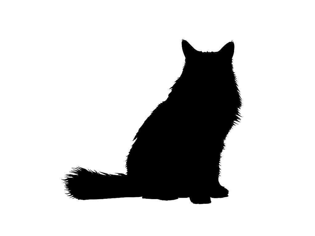 1024x768 Tuxedo Cat Clipart Silhouette