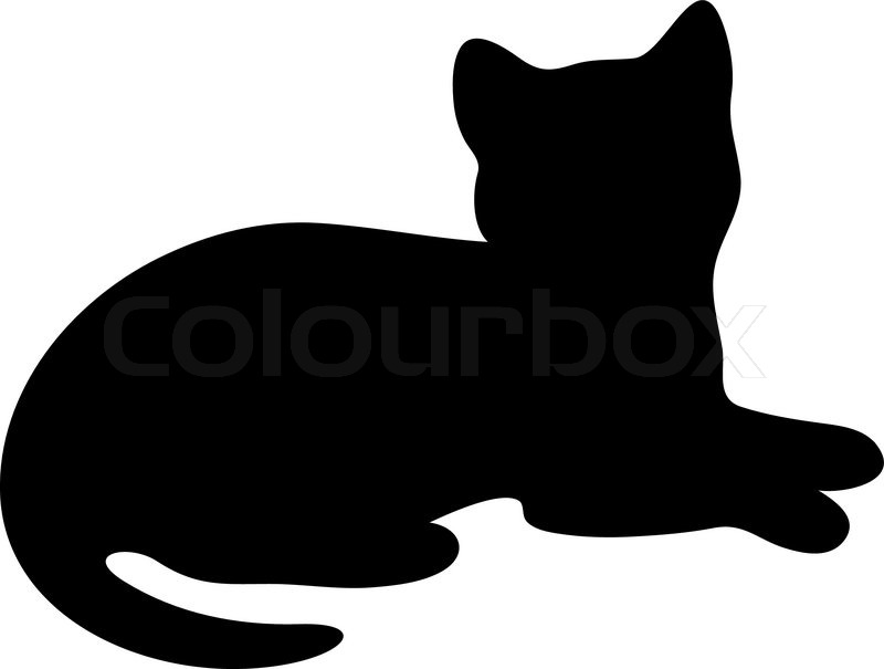 800x605 Cat Laying Down Clipart Silhouette Lying