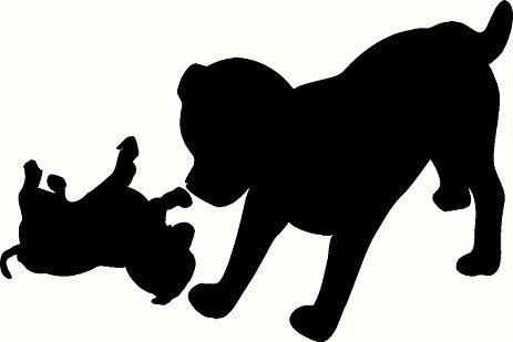 463x309 Playing Dogs, Silhouette, Vinyl Wall Art, Decal