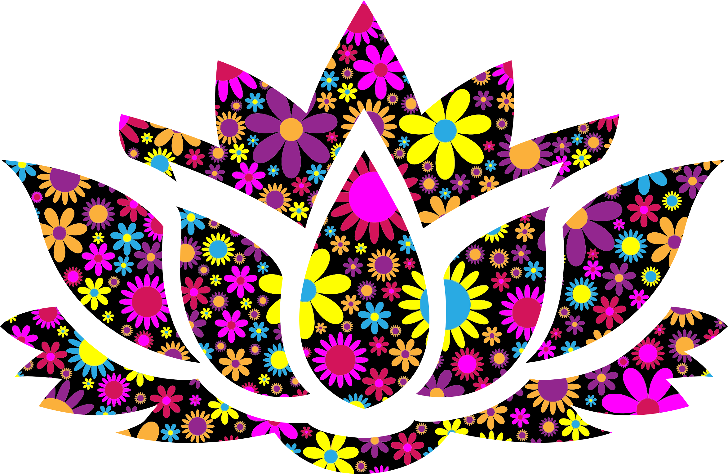 2348x1528 Floral Lotus Flower Silhouette 8 Icons Png