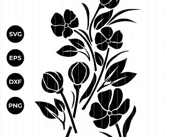 340x270 Flower Silhouettes Etsy
