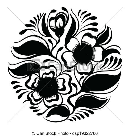 450x470 Silhouette Circle Branch Of Tea With Flowers And Leaves . Vector
