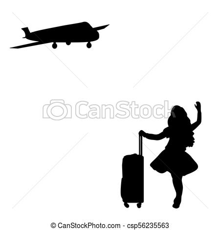 450x470 Silhouette Girl Standing With Suitcase Waiting For Plane . Clip