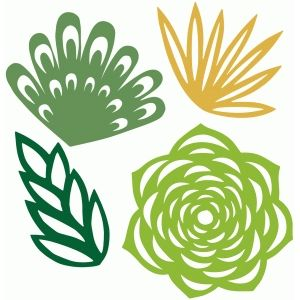 300x300 Succulent Plants Set Silhouette Design, Silhouette And Cricut