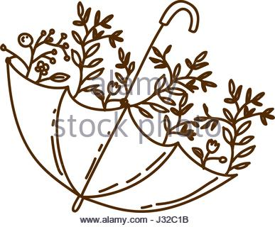 387x320 Brown Silhouette Of Umbrella With Plants Stock Vector Art