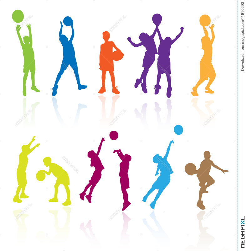 789x800 Kids Playing Basketball Kid Play Sports Child Children Silhouettes