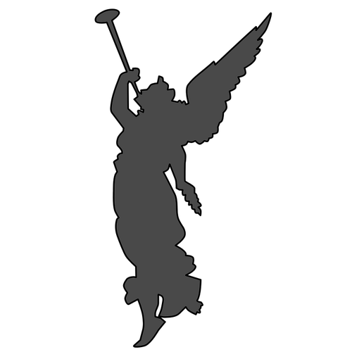 500x500 Angel Playing Trumpet Silhouette Vector Drawing Public Domain