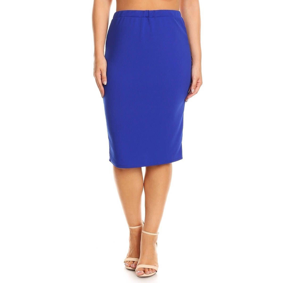 1200x1200 Moa Collection Women's Plus Size Solid Pencil Silhouette Skirt
