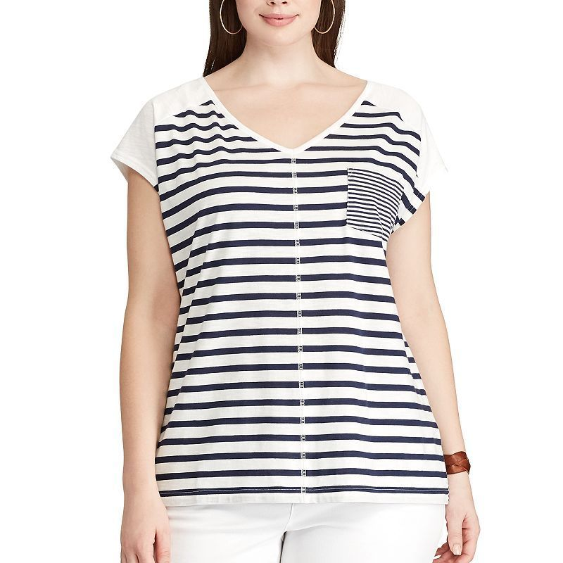 800x800 Plus Size Chaps Striped Pocket Tee, Women'S, Size 3xl, Blue