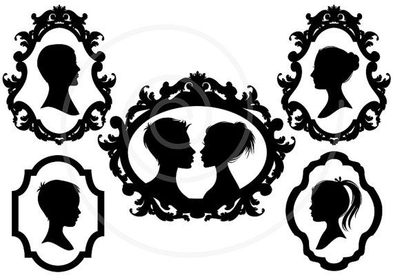 570x399 Family Faces, Portrait Silhouettes In Vintage Picture Frames