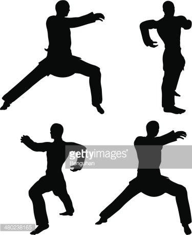 375x457 Martial Art Silhouettes Of Men In Hardbow Stance Karate Poses
