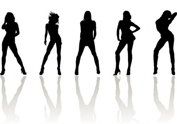 600x421 Posing Fashion Women Silhouette Vectors
