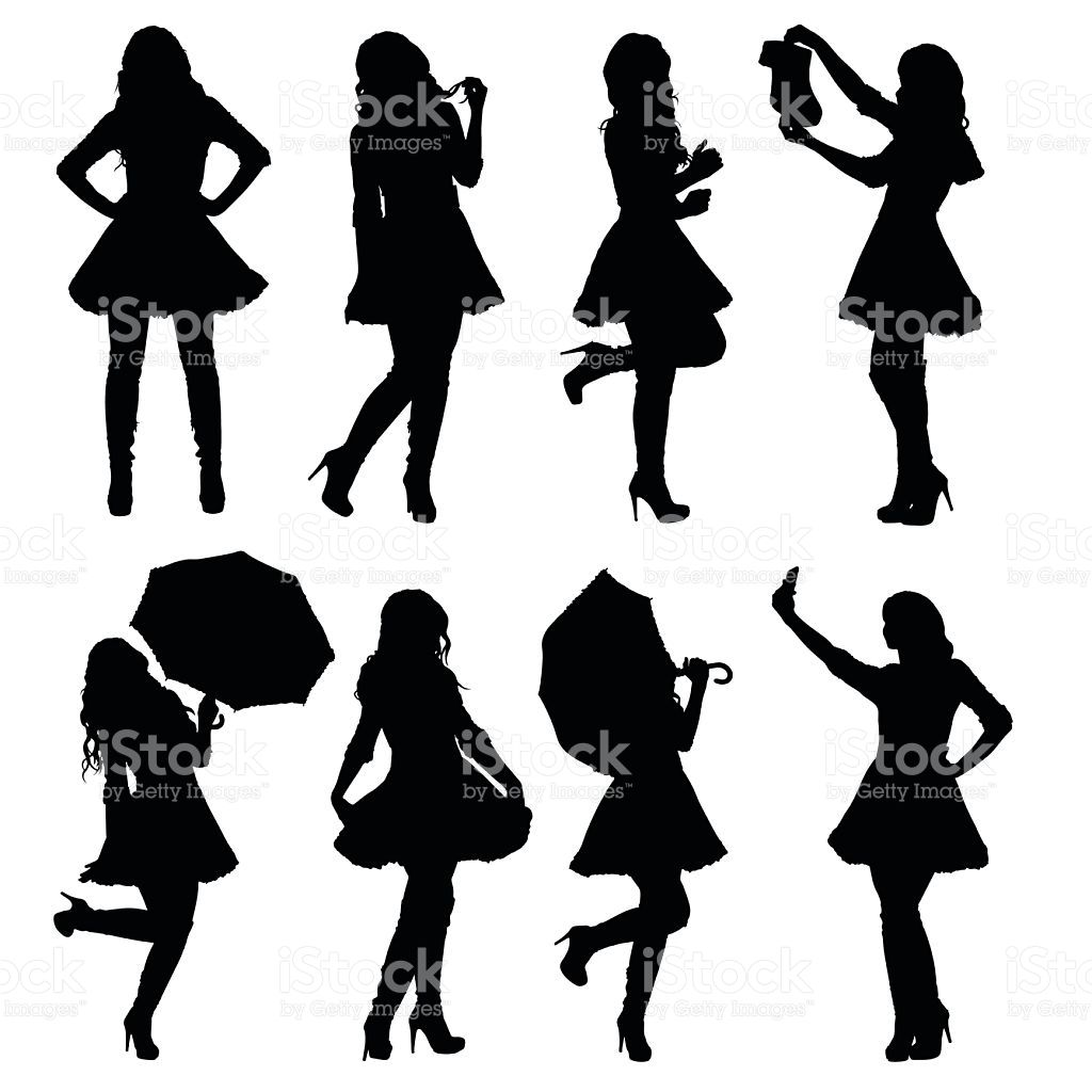1024x1024 Set Of Female Santa Silhouettes In Different Poses. Easy Editable