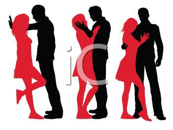 350x263 Silhouette Of A Couple In Different Poses Of Affection