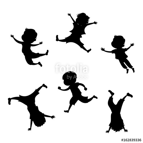 500x500 Boy Silhouette In 6 Action Poses Stock Photo And Royalty Free