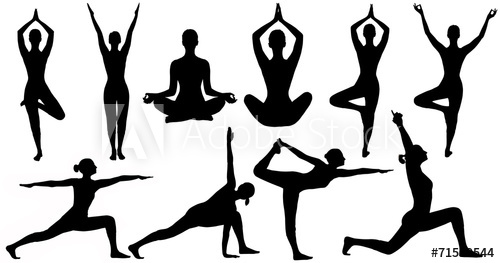 500x263 Yoga Poses Woman Silhouette, Set Isolated Over White Background
