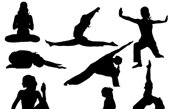 600x380 Yoga Silhoutte Vector Poses Vector, Free Vectors