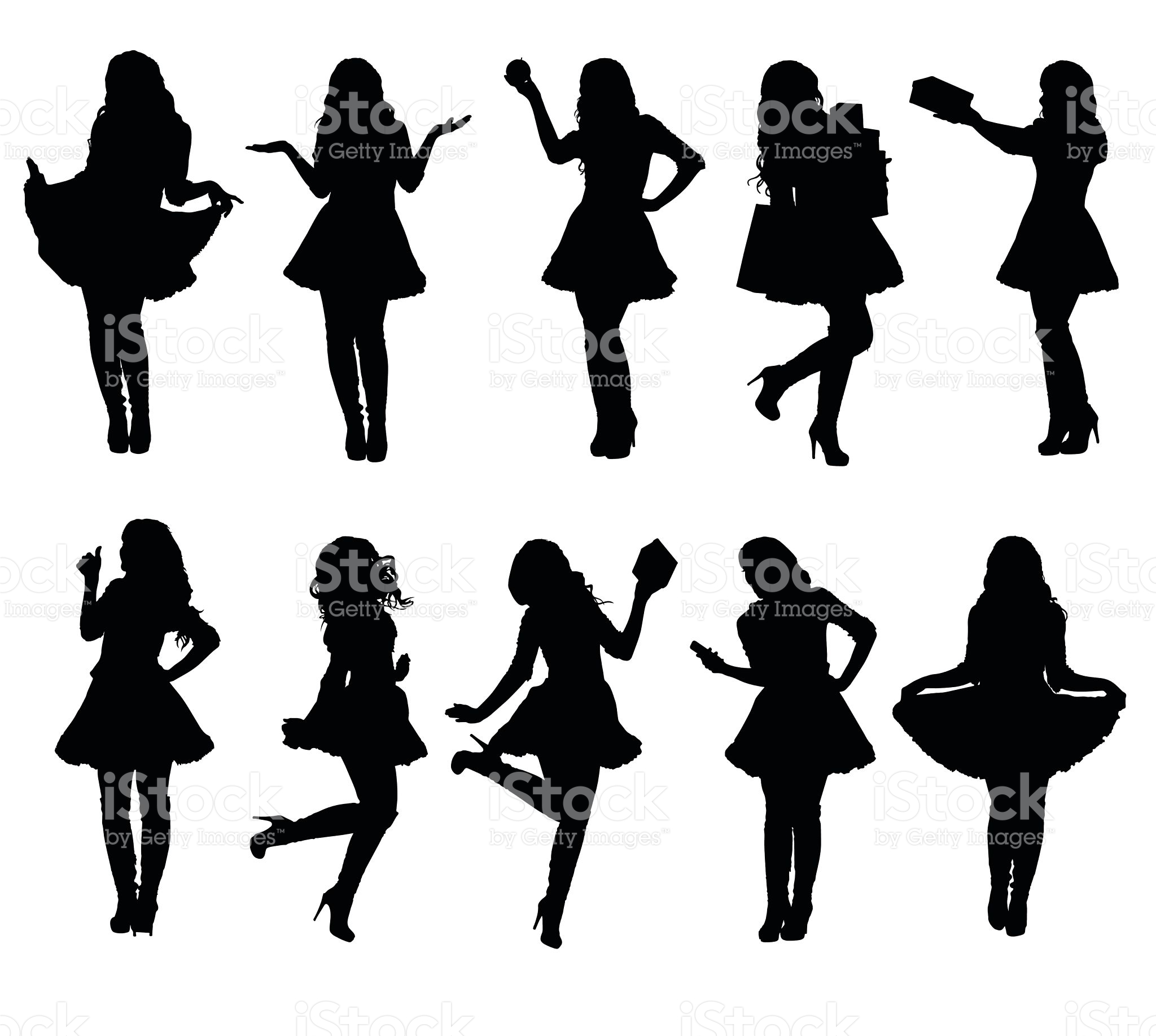 2048x1835 Collection Of Santa Girl Silhouettes In Various Poses. Easy