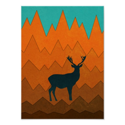 512x512 Deer Silhouette Autumn Fall Colorful Design Poster Design Posters