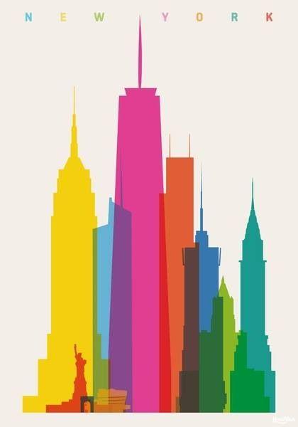 420x600 Yoni Alter's Colorful City Silhouette Prints Scene, Building