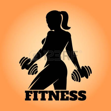 450x450 48450531 Fitness Club And Gym Banner Or Poster Design Silhouette