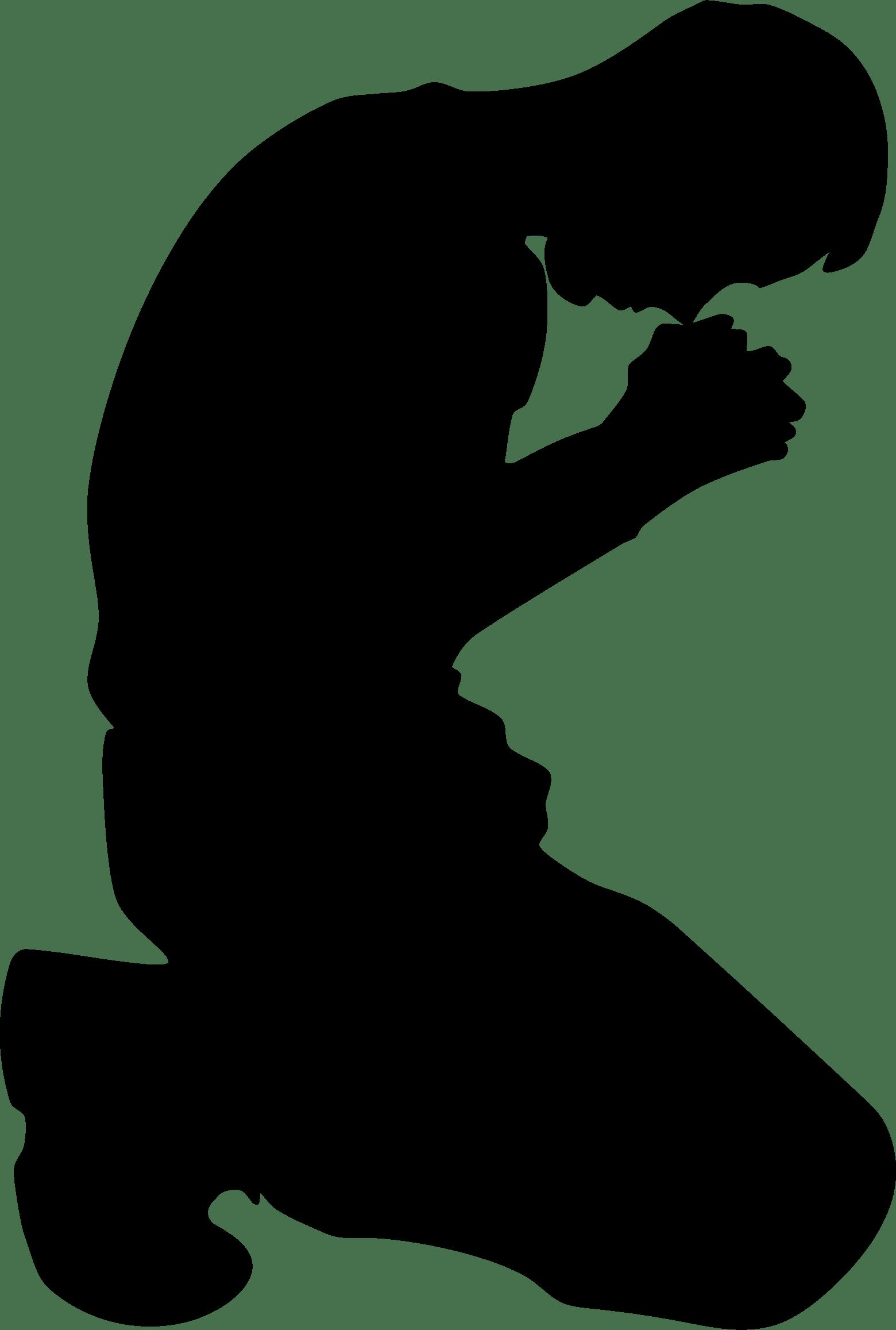 1560x2314 Man Kneeling In Prayer Minus Ground Silhouette