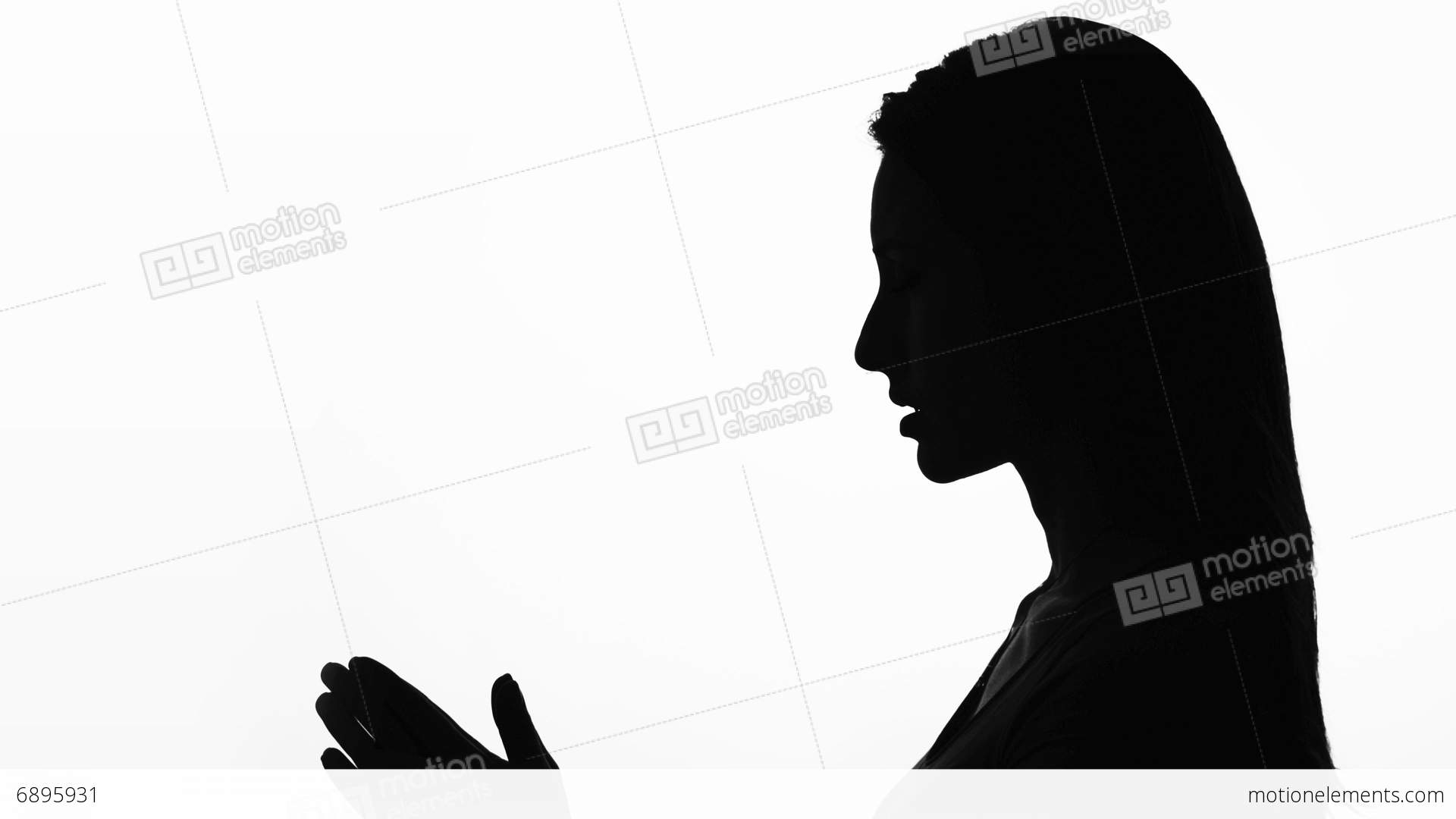 1920x1080 Closeup Profile Of A Woman Praying In Silhouette Isolated Stock
