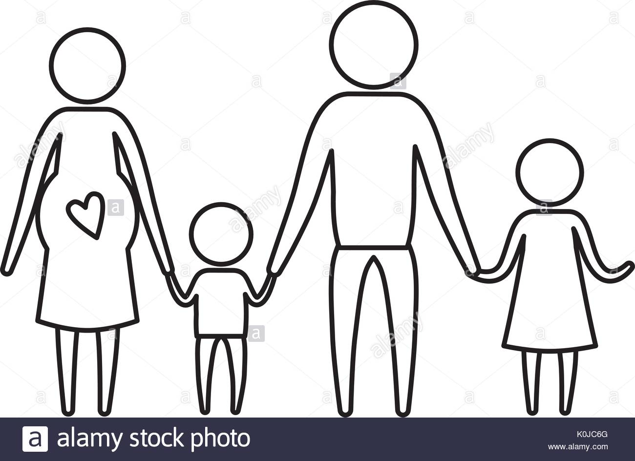 1300x944 Sketch Silhouette Of Pictogram Parents With Mother Pregnancy
