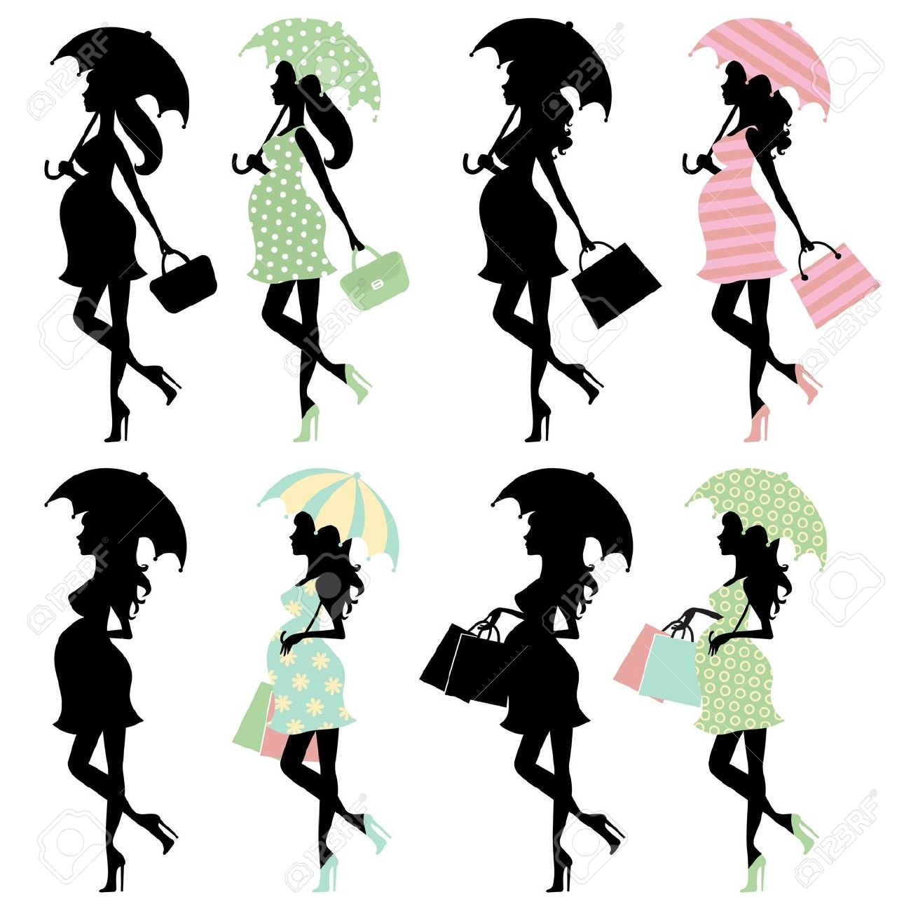 1300x1300 Silhouette With Umbrella Clipart