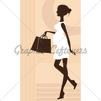 325x325 Silhouette Preggy With Umbrella Gl Stock Images