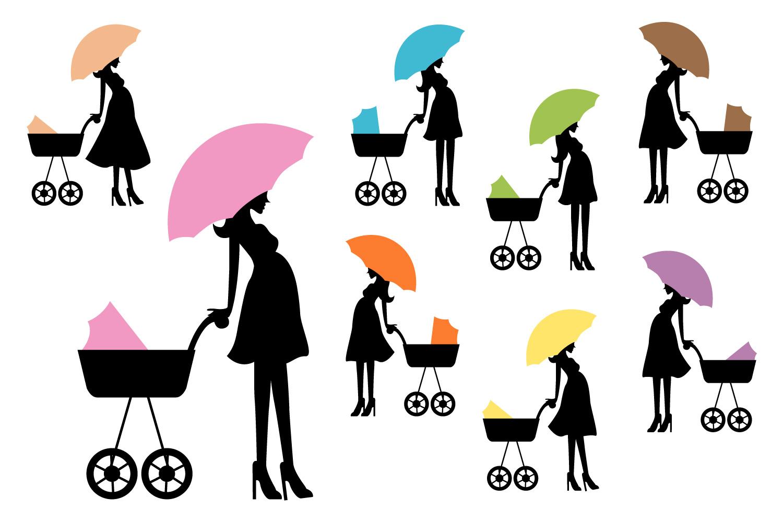 1500x1000 Silhouette Pregnant Woman, Umbrella Bab Design Bundles