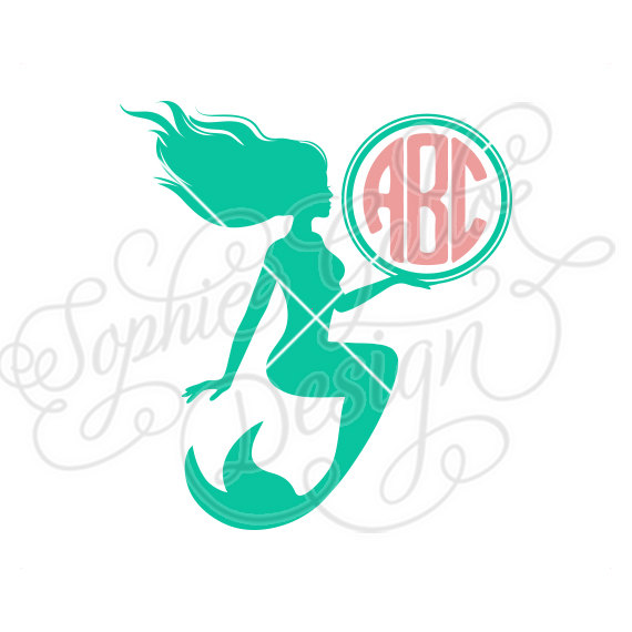 570x570 Mermaid Monogram Svg Dxf Png Digital Download Files For Silhouette