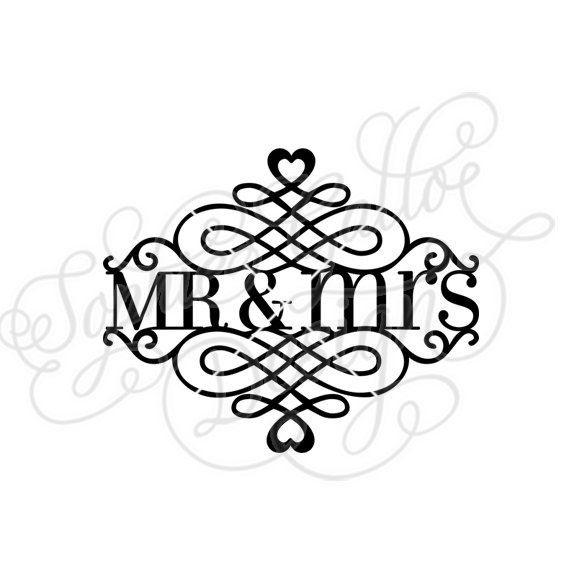 570x570 Mr. Amp Mrs. Split Flourish Svg Dxf Digital Download File Silhouette