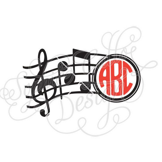 570x570 Musical Monogram Svg Dxf Digital Download Files For Silhouette