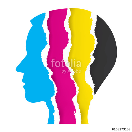 499x500 Print Colors Ripped Paper Head. Male Head Silhouette With Ripped