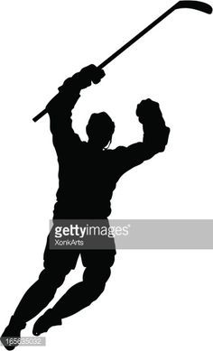 236x389 Silhouette Of A Hockey Player Celebrating After A Goal. Simple