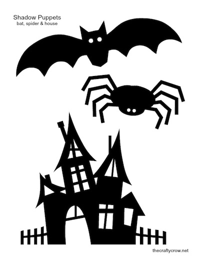 400x520 The Crafty Crow Shadow Puppets Printable Bat Spider Haunted House